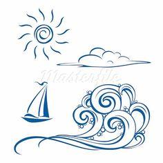 boat waves cloud sun