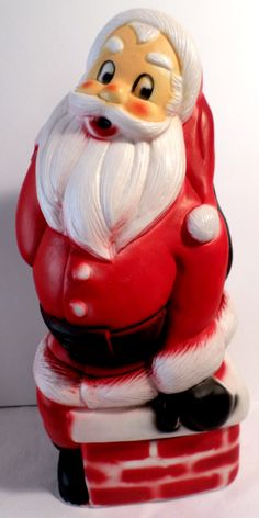 Vintage Christmas, Blow Mold Santa, Santa blow mold, Santa light, Santa decoration, christmas decoration, 1950 Christmas, 1960s Christmas by DeliciasCastle on Etsy