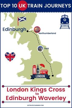 Traveling the UK by rail is a wonderful way to see the country. Check out our top 10 train trips and scenic rail journeys to take across the UK. London Kings Cross to Edinburgh Waverley #UK #travel #trains #rail #railway Manchester Piccadilly, Kyle Of Lochalsh, Uk Rail, Birmingham News, Scotland Landscape, Europe Train Travel, Journey Mapping, Cathedral City, Train Service