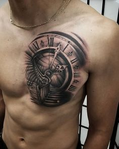 Chest n tit cover tats Watch Tattoos, Time Tattoos, Body Art Tattoos, Sleeve Tattoos, Tattoos For Guys, Cool Tattoos, Small Tattoos, Armband Tattoo Design, Clock Tattoo Design