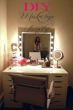 DIY Vanity Mirror With Lights For Bathroom And Makeup . DIY Vanity Mirror With Lights For Bathroom And Makeup Station. How To Replace And Install A Bathroom Vanity And Sink. Decoration Bedroom, Diy Room Decor, Bedroom Decor Diy On A Budget, Room Decorations, Home Decor, Cool Diy Projects, Diy Projects For Teens, Bedroom Ideas For Teen Girls Small, Diy Bedroom Projects
