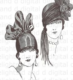 c29360dd36 Fabulous Flappers in Wildly Wonderful Art Deco VINTAGE Digital Fashion  Illustration