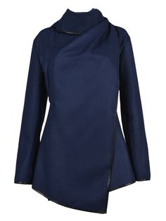 Navy Layered Coat with Zippers