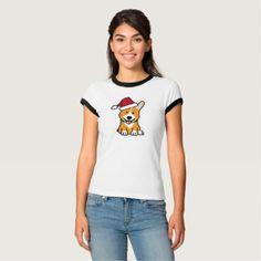 #Corgi dog puppy Pembroke Welsh Christmas Santa hat T-Shirt - #pembroke #welsh #corgi #puppy #dog #dogs #pet #pets #cute #pembrokewelshcorgi