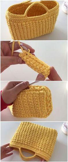 Crochet Easy Beautiful Bag – Crochet and Knitting Patterns - DIY Tasche Shnittmuster Bag Crochet, Crochet Shell Stitch, Crochet Handbags, Crochet Purses, Love Crochet, Crochet Crafts, Crochet Baby, Beautiful Crochet, Crochet Baskets