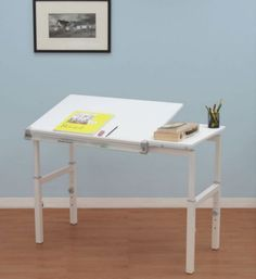 Contemporary Writing Desk Adjustable Home Office Furniture White & Grey Finish