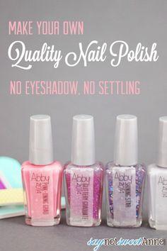 Easy, DIY, Quality Nail Polish! No eyeshadow, settling, or melted glitter! | Saynotsweetanne.com | #diy #polish #cute #franken