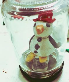 Schneekugel Schneemann selbst machen