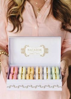 A sweet box of luxury macaroons! Featured Photography: The Tomkat Studio
