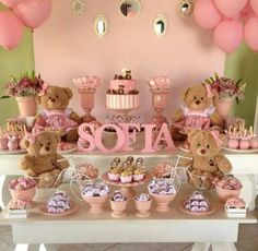 Cute Dessert Table for Baby (girl) Shower Shower Party, Baby Shower Parties, Baby Shower Themes, Baby Shower Decorations, Baby Shower Gifts, Shower Ideas, Baby Showers, Mesa Dulces Baby Shower, Fiesta Baby Shower