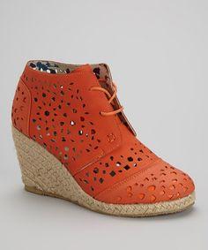 Another great find on #zulily! Orange Laser-Cut Wedge Bootie #zulilyfinds $29.99 since you have orange theme
