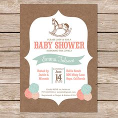 Rocking horse baby shower invitation rustic invite white wash wood our emma baby shower invitation is perfect for a gender neutral baby shower this charming invite features a kraft paper background with pastel colors and a filmwisefo Gallery
