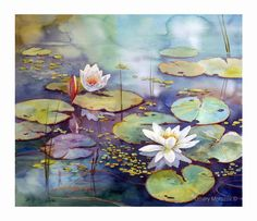 Lotus Flowers- Fine Art Giclée Reproduction of my Original Watercolor Painting-Pink Waterlilies With Water Lilies Painting, Lilies Drawing, Pond Painting, Lotus Painting, Lily Painting, Watercolor Water, Watercolor Landscape Paintings, Seascape Paintings, Cool Paintings