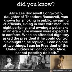 I aspire to be as hardcore as Alice Roosevelt The More You Know, Did You Know, Funny Memes, Hilarious, Funny Art, History Memes, Funny History Facts, Nasa History, History Class