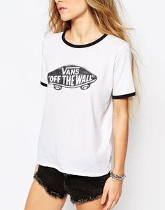 3ef91797ad Image 3 of Vans Fitted Retro Ringer T-Shirt With Contrast Piping   Off The  Wall Logo
