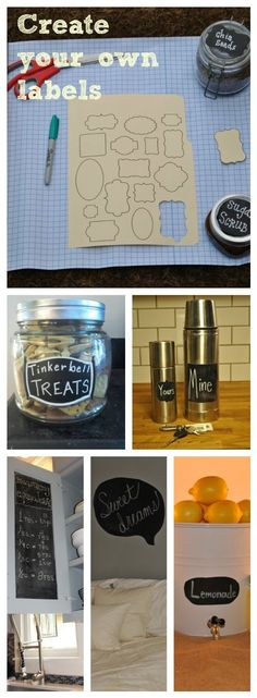Easy & Economical! Create your own chalkboard labels using our vinyl decal and  FREE bonus label stencils. www.ErstwhileMercantile.com