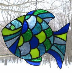 Stained Glass Tropical Fish Suncatcher por valleybeadglassart