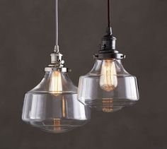 PB Classic Schoolhouse Cord Pendant – Clear Glass - All For Decoration Pottery Barn Pendant Lights, Glass Pendant Light, Pendant Light Fixtures, Glass Pendants, Pendant Lighting, Lighting Sale, Custom Lighting, Lighting Ideas, Kitchen Lighting Fixtures