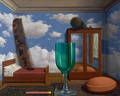 Rene Magritte (Belgian, Surrealism, 1898–1967): Personal Values (Les valeurs personnelles), 1952. Oil on canvas, 31-1/2 x 39-3/8 inches (80 x 100 cm). San Francisco Museum of Modern Art, San Francisco, California, USA. © Charly Herscovici, Brussels / Artists Rights Society (ARS), New York. Image: © San Francisco Museum of Modern Art. © This artwork may be protected by copyright. It is posted on the site in accordance with fair use principles.