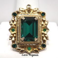 4b17bf37e Coro Pegasus Pendant with Green Faceted Glass set in Gold Tone Floral Frame  with Emerald Green Rhinestones 1940s Vintage Jewelry