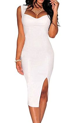 05a93fcf326 Amazon.com  Elady Sexy Faux Leather Midi Dress Slim Bodycon Slit Night Party  Clubwear Padded White (S)  Clothing