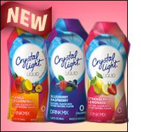 From Hungry Girl: Crystal Light's new line of mixes (which come in multi-serving mini bottles) is pretty impressive: Pomtini, Strawberry Lemonade, Peach Bellini, Mango Passionfruit, Blueberry Raspberry, and Iced Tea!