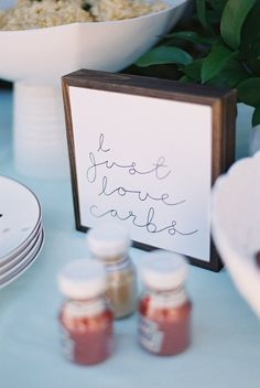 """Wood Block """"I Just Love Carbs"""" Sign from a Kids' Baking Championship Birthday Party on Kara's Party Ideas 