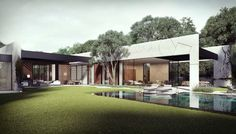 Diseño de Casa en Forma de L con Piscina : Diseño de Casas Home House Design