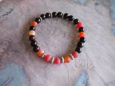 Orange frosted agate bracelet by Shynnasplace on Etsy