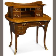 A French Art Nouveau gilt-bronze-mounted marquetry bureau de dame