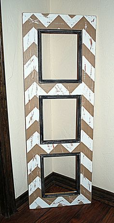 SAMPLE SALE, Multiple Picture Opening Frame, 3 - 8x10's, Chevron Pattern Picture Frame, White Wash/Saddle Tan with Vintage Black Trim. $165.00, via Etsy.