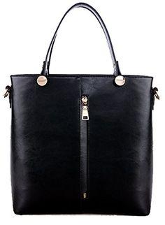 Heshe 2014 New Genuine Leather Double Zippered Tote Cross Body Shoulder Bag Handbag for Women (Black)