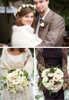I like the chocolate and cream! With a pinch of my teal would be pretty in snow time - love the flowers too  Google Image Result for http://blog.weddingwire.com/wp-content/uploads/2012/02/winter-weddings.jpg