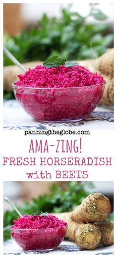 Fresh horseradish with beets: Have you ever made horseradish from scratch? We make it every year at Passover. It's a quick and easy recipe, if you have a food processor. Tastes excellent on a cracker, on matzo, on brisket or other meats. It adds a nice zing to a sandwich too! Isn't the color gorgeous? #Passover #Easter
