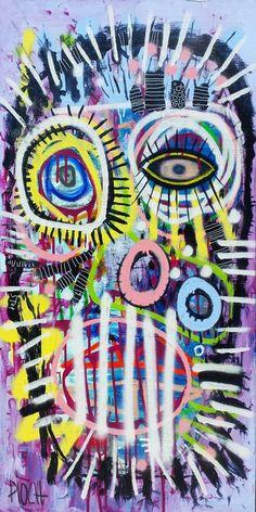 Dans ta bouche (Peinture), 100x50 cm par Olivier PIOCH Toile tendu sur châssis bois. Acrylique, spray graph, pastel.