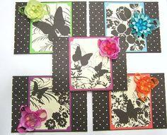 Set of 5 Note Cards, Embossed, Polka Dot