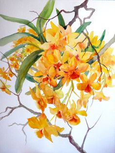 Yellow Orchids, watercolor painting by Suren Nersisyan