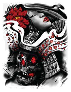 Honour Bound Samurai, bound by a geishas love even in Death. Originally Hand drawn and created by Rick the Brokenpuppet. Print Size is
