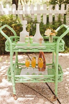 Mint bar cart is so easy and glam, simple and stylish
