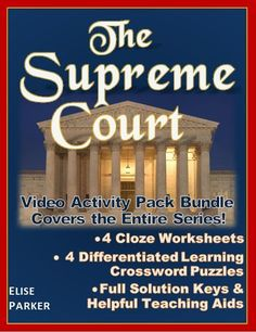 PBS The Supreme Court worksheets and puzzles cover all four episodes and are packed with fun, engaging student learning activities. Keep 'em on task, accountable, and having a great time while they study landmark cases that take them through the whole swe Hands On Activities, Learning Activities, Teaching Resources, Teaching Tools, History Class, Full History, Judicial Branch, Crossword Puzzles, Teaching Aids