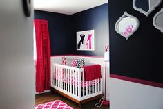 Pink & Navy nursery with giraffes! PERFECT for us!