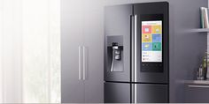 Kitchen Trends for 2016 - Samsung Family Hub Smart Fridge Latest Kitchen Trends, Tall Cabinet Storage, Locker Storage, Food Storage, Smart Kitchen, Home Gadgets, Home Automation, French Door Refrigerator, Apps