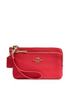 Coach Double Corner Zip Wristlet Wallet in Pebble Leather