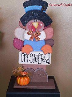 "Cute Thanksgiving Turkey Wood Craft ""I'm Stuffed""  By Carousel Crafts"