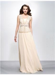 Elegant A-line V-neck Floor-length Zipper-up Appliques Prom Dress