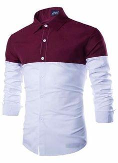Camisa Juvenil Fashion Casual - Dos Colores - Roja — CamisasMasculinas.com - Lo Mejor de la Moda Masculina