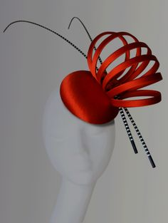 Tangerine & stripe quills button - A Day At The Races Collection | Esther Louise Millinery