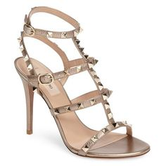 Women's Valentino 'Rockstud' Ankle Strap Sandal found on Polyvore featuring shoes, sandals, rose gold, stiletto shoes, valentino sandals, ankle wrap sandals, ankle strap sandals and cage shoes