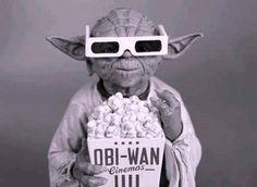 Yoda + popcorn + movie