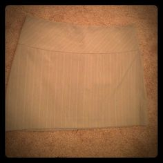 Express mini skirt Beige with neutral pinstripe, zipper back and fully lined. Never worn. Express Skirts Mini